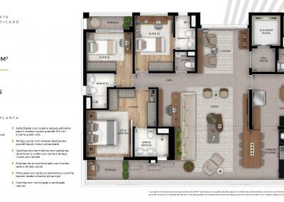 Tríad_Planta 160 m² 3 dorm. terraço unificado